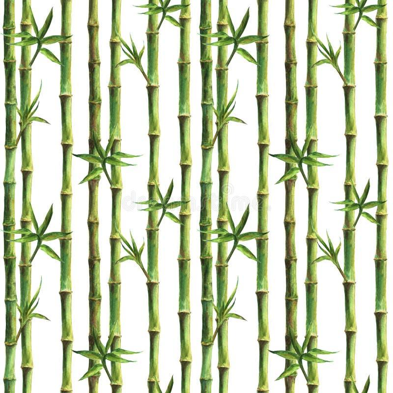 Gambi di bambù verdi e modello senza cuciture delle foglie royalty illustrazione gratis