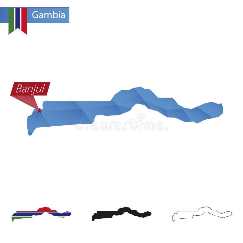 Gambia błękitna Niska Poli- mapa z kapitałem Banjul ilustracja wektor