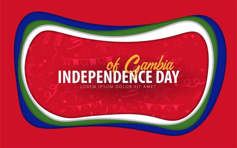 gambia Carte de voeux de Jour de la Déclaration d'Indépendance style de coupe de papier illustration stock