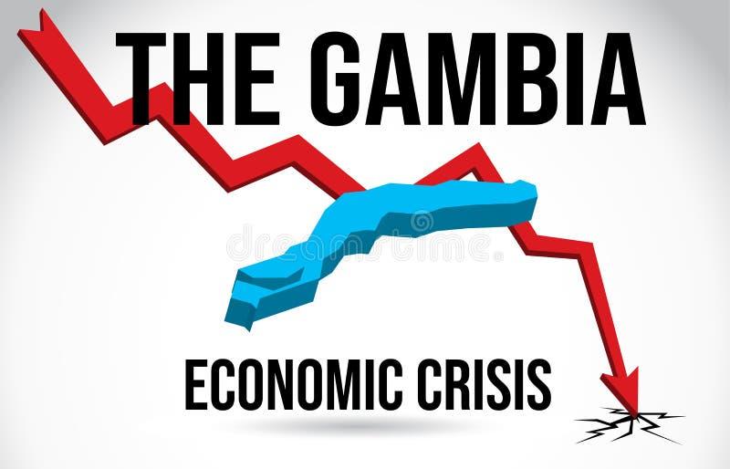 The Gambia Map Financial Crisis Economic Collapse Market Crash Global Meltdown Vector. Illustration vector illustration