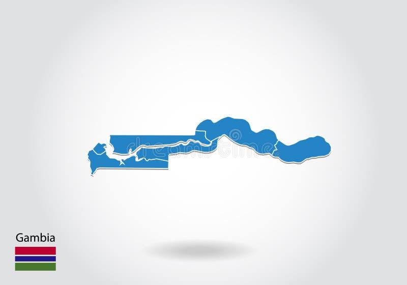 Gambia mapy projekt z 3D stylem Błękitna Gambia flaga państowowa i mapa Prosta wektorowa mapa z konturem, kształt, kontur, na bie ilustracja wektor