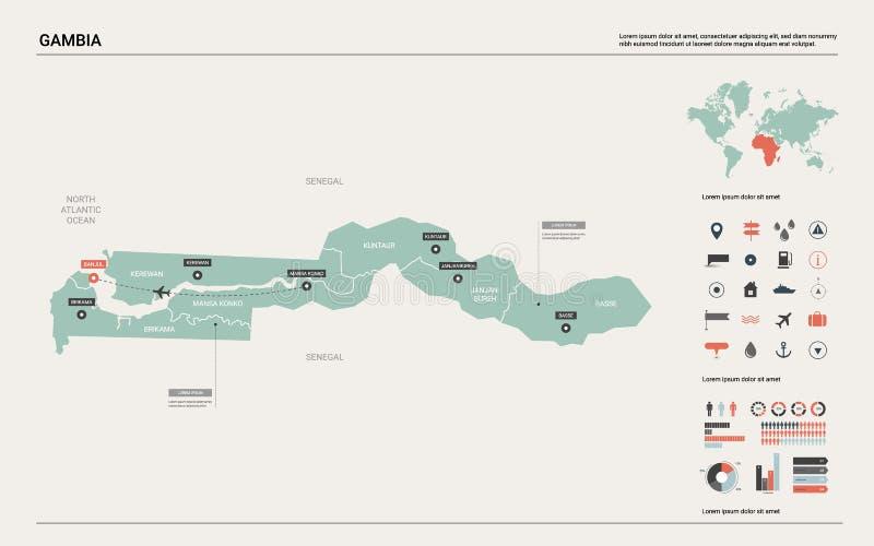 gambia mapy wektor Wysoko?? wyszczeg royalty ilustracja