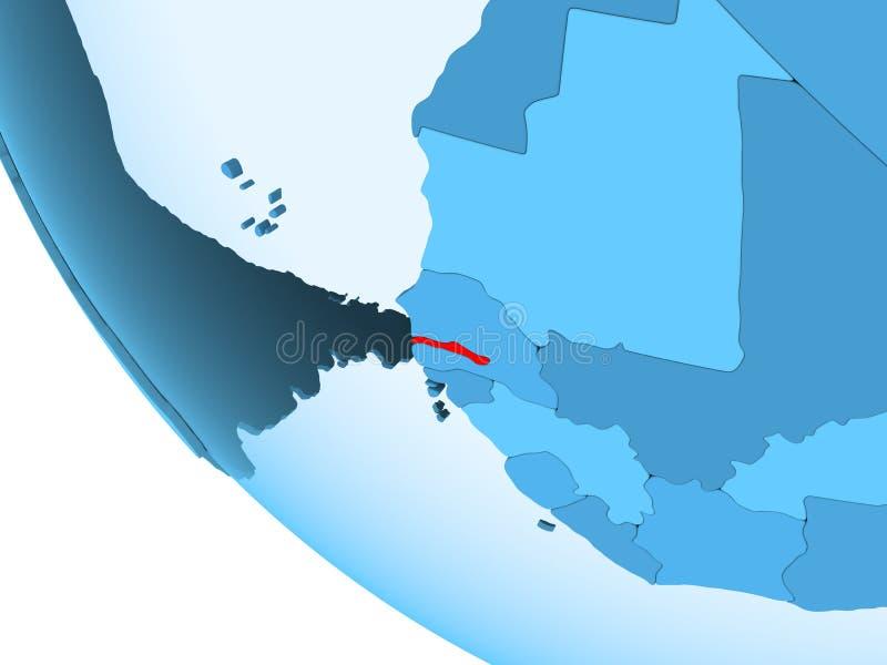 Gambia na błękitnej politycznej kuli ziemskiej royalty ilustracja
