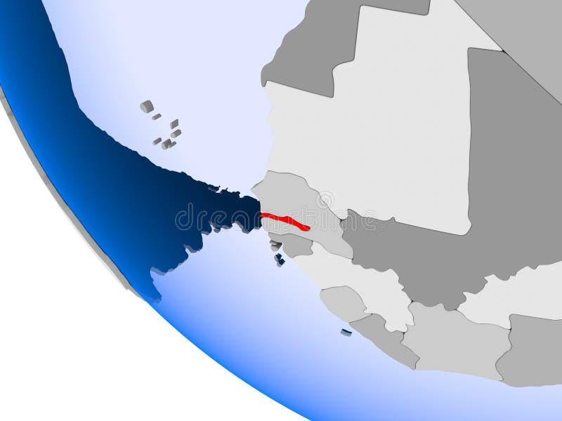 Gambia na politycznej kuli ziemskiej royalty ilustracja