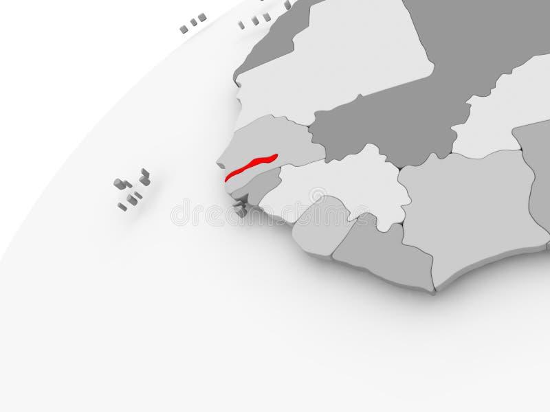 Gambia na popielatej politycznej kuli ziemskiej ilustracji
