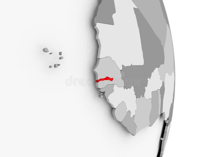 Gambia na popielatej politycznej kuli ziemskiej ilustracja wektor