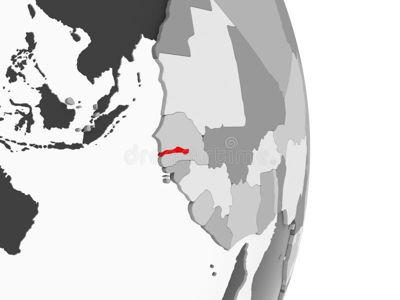 Gambia na popielatej politycznej kuli ziemskiej royalty ilustracja