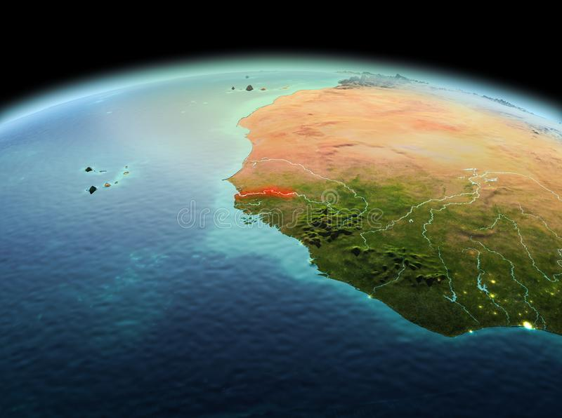Gambia on planet Earth in space. Morning above Gambia highlighted in red on model of planet Earth in space. 3D illustration. Elements of this image furnished by royalty free stock photo