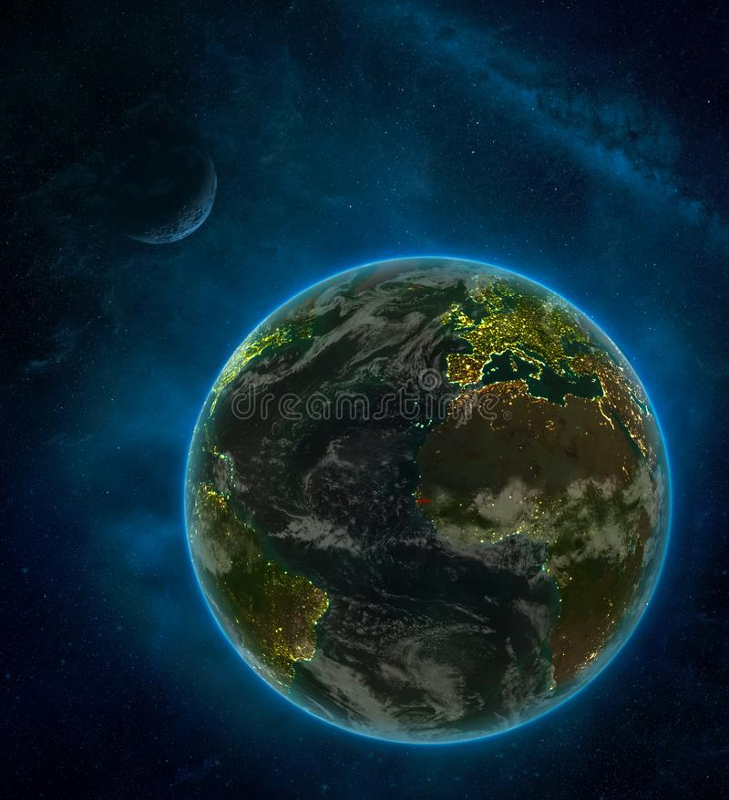 Gambia from space on Earth at night surrounded by space with Moon and Milky Way. Detailed planet with city lights and clouds. 3D. Illustration. Elements of this vector illustration