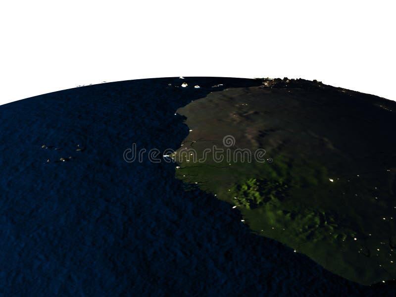 Gambia van ruimte bij nacht royalty-vrije illustratie