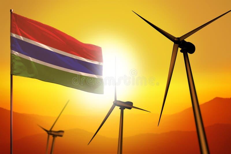 Gambia-Windenergie, Umweltkonzept der alternativen Energie mit Windkraftanlagen und Flagge auf industrieller Illustration des Son stock abbildung