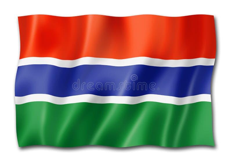 Gambijska flaga odizolowywająca na bielu royalty ilustracja
