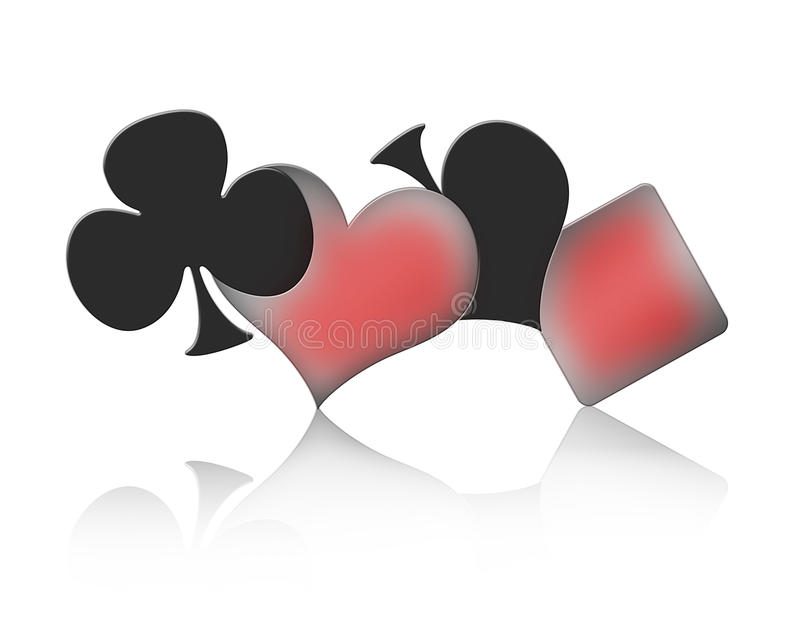 Gamble. The four signs of a Poker game vector illustration