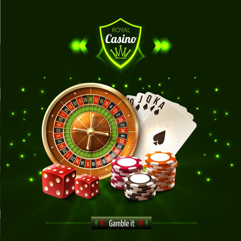 Gamble It Casino Realistic Composition. With dice playing cards roulette and chips vector illustration vector illustration