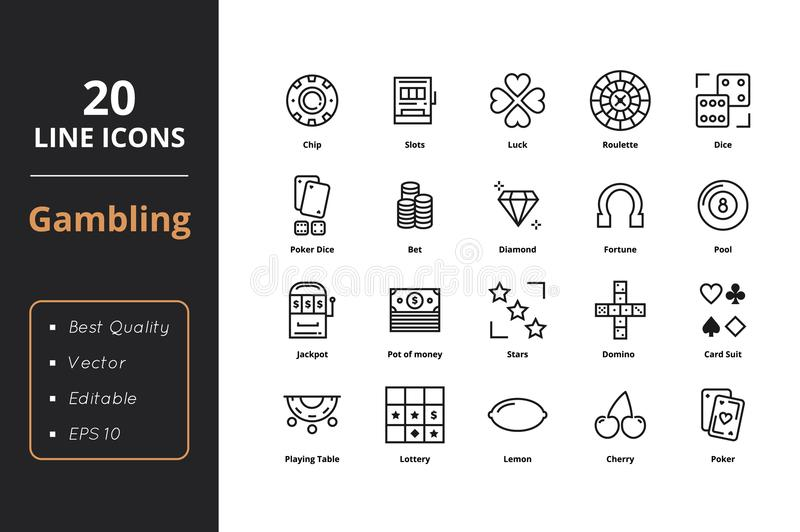 20 Gamble line icons. High level quality thin line gamble icons. Icons for web and user interface royalty free illustration
