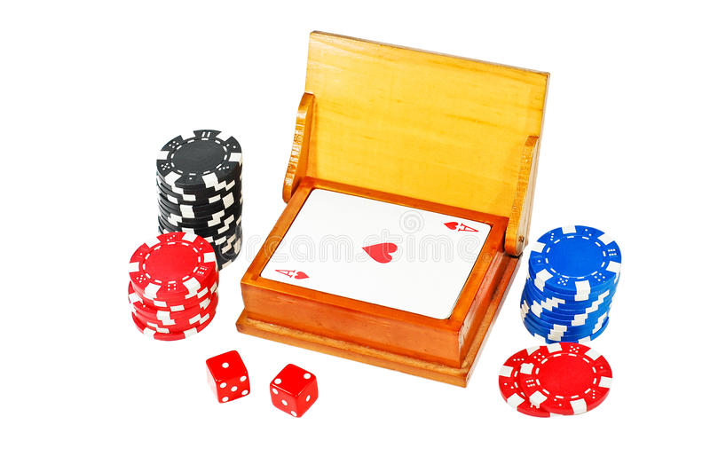 Gamble set. Isolated on white royalty free stock image