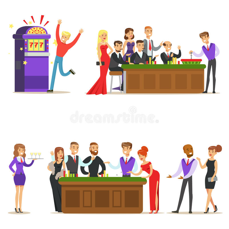 Gamblers In Chic Casino In Vegas Playing Cards, Roulette And Slot Machine Smiling Players, Waiters And Dealers. Illustrations. Set Of Cartoon Vector Characters vector illustration