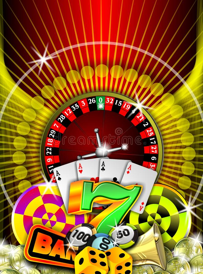 Gambling. Casino illustration with roulette and other game elements royalty free illustration