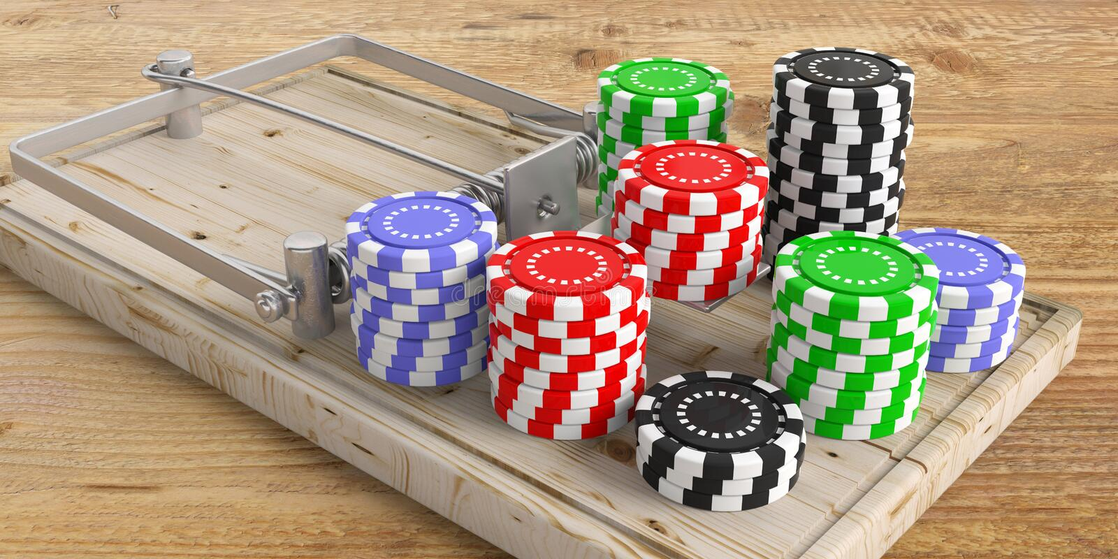 Gambling addiction. Casino poker chips on a mouse trap on wooden floor. 3d illustration. Gambling addiction concept. Casino poker chips on a mouse trap on wooden stock illustration