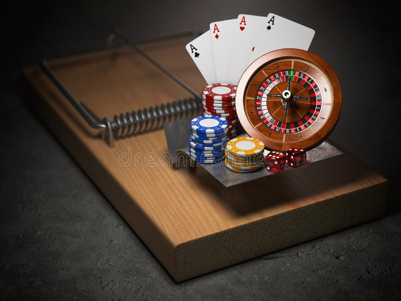 Gambling addiction concept. Mousetrap with casino roulette, chip. S, dice and playing cards. 3d illustration vector illustration