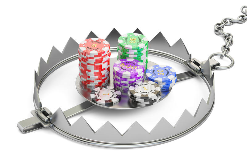 Gambling Addiction concept. Trap with gaming casino chips, 3D re. Ndering vector illustration