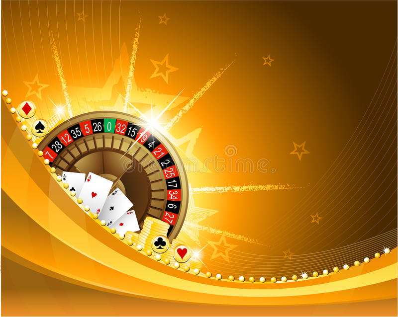 Gambling background with casino elements. Golden casino background with roulette and playing cards EPS 10 vector illustration