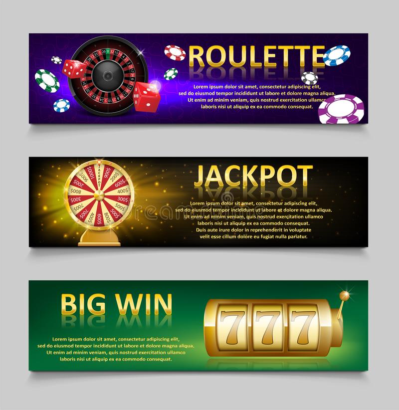 Gambling banners with Roulette Wheel and Casino Chips, lottery machine, gold fortune wheel set. Casino jackpot banner. With Playing casino games. money, fortune vector illustration