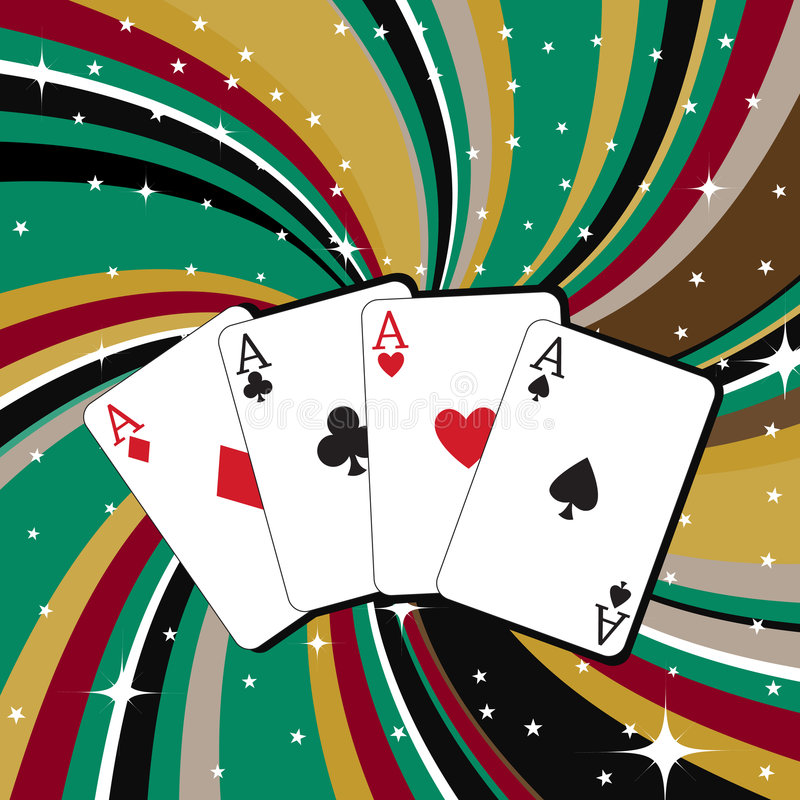 Gambling cards. Vector illustration of gambling cards set on the beautifull background, decorated with stars and waves vector illustration