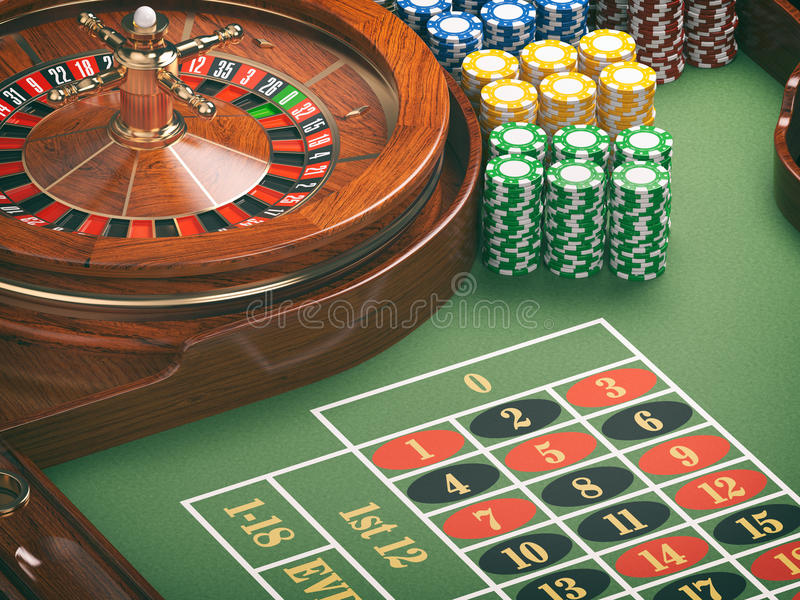 Gambling or casino background concept. Casino roulette wheel wit. H casino chips on green table. 3d illustration vector illustration