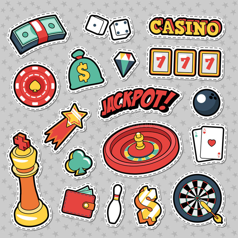 Gambling Casino Badges, Patches and Stickers - Jackpot Roulette Money Cards. Vector Doodle stock illustration