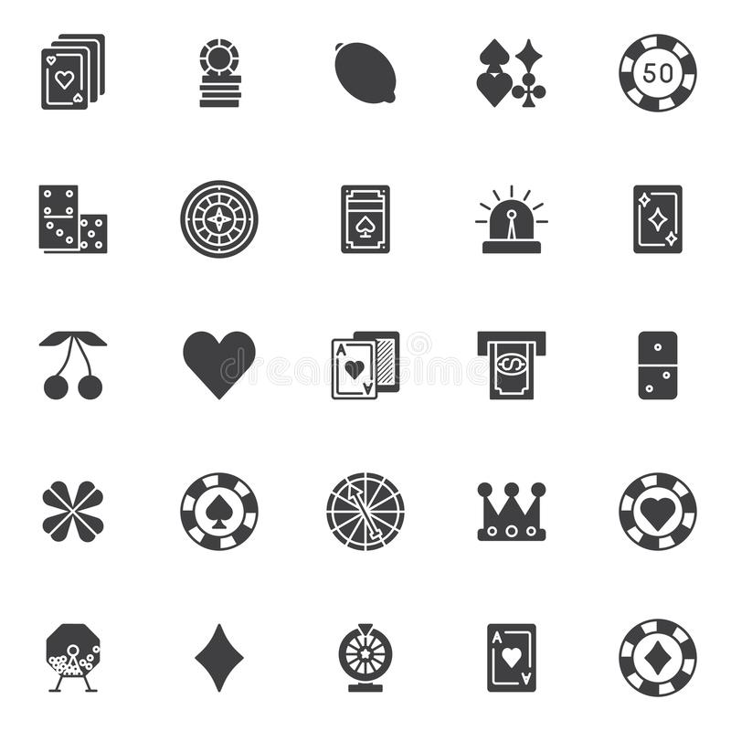 Gambling casino elements vector icons set. Modern solid symbol collection, filled style pictogram pack. Signs, logo illustration. Set includes icons as Playing stock illustration