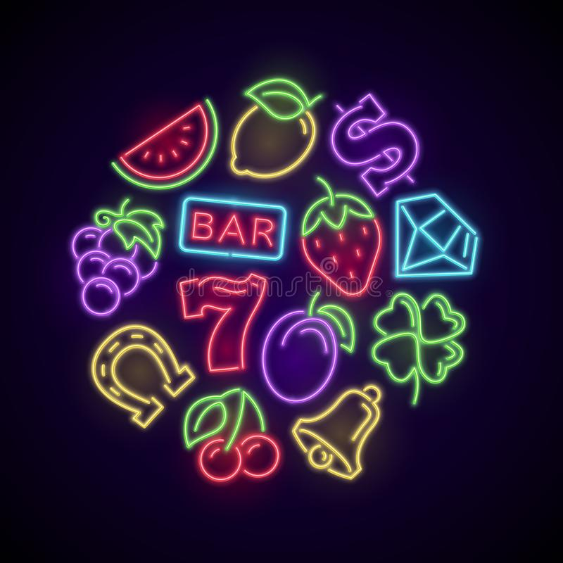 Gambling casino games neon logo with slot machine bright icons stock illustration