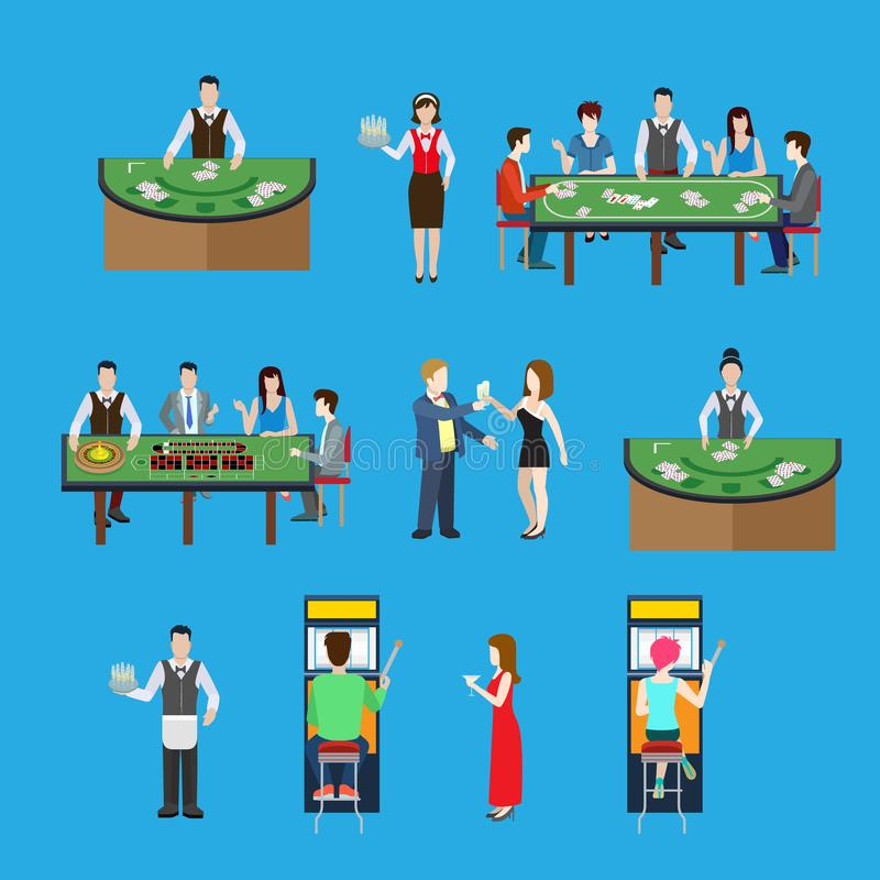 Gambling casino interior poker and roulette tables. Flat style casino interior with poker and roulette tables illustration. Gambling business concept. Players vector illustration