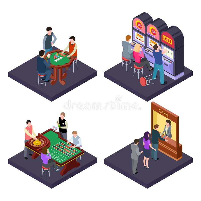 Gambling, casino isometric vector composition with slot machines, poker, cash exchange. Gambling play roulette and slot machine, isometry table poker royalty free illustration