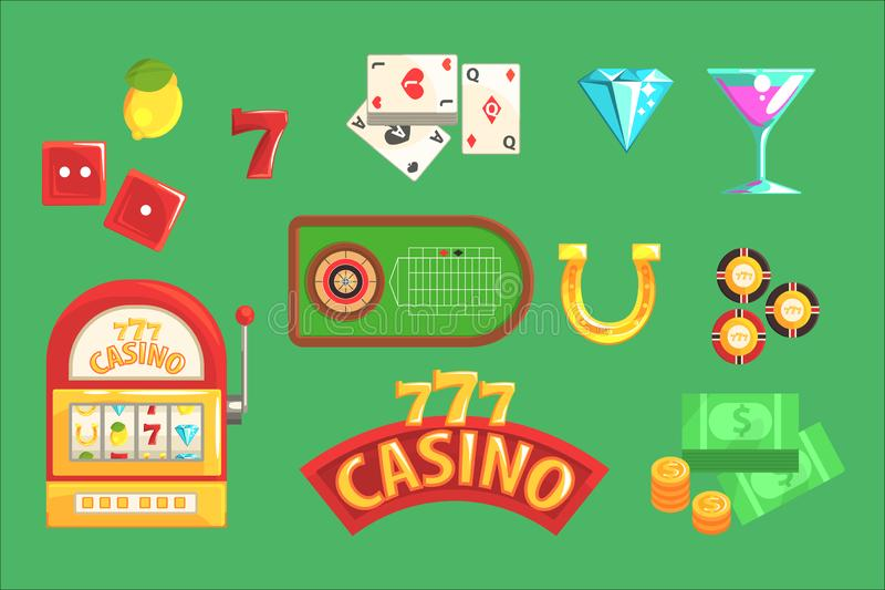 Gambling And Casino Night Club Set Of Symbols, Including Cards, Dices , Roulette Table, Chips And Slot Machine. Cartoon Gaming Club Classic Elements Vector royalty free illustration