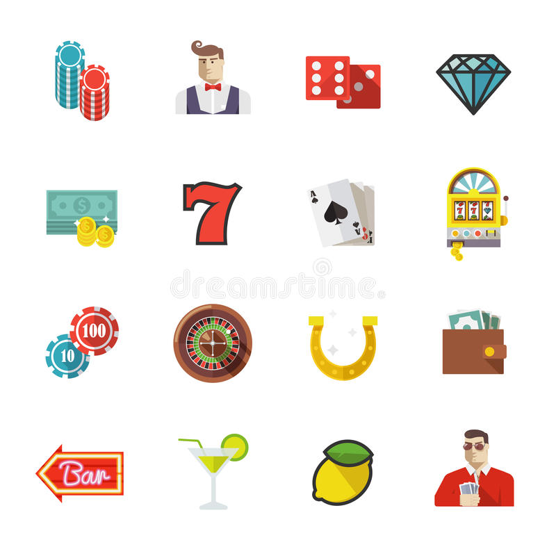 Gambling, casino and poker icons. Set #1 vector illustration