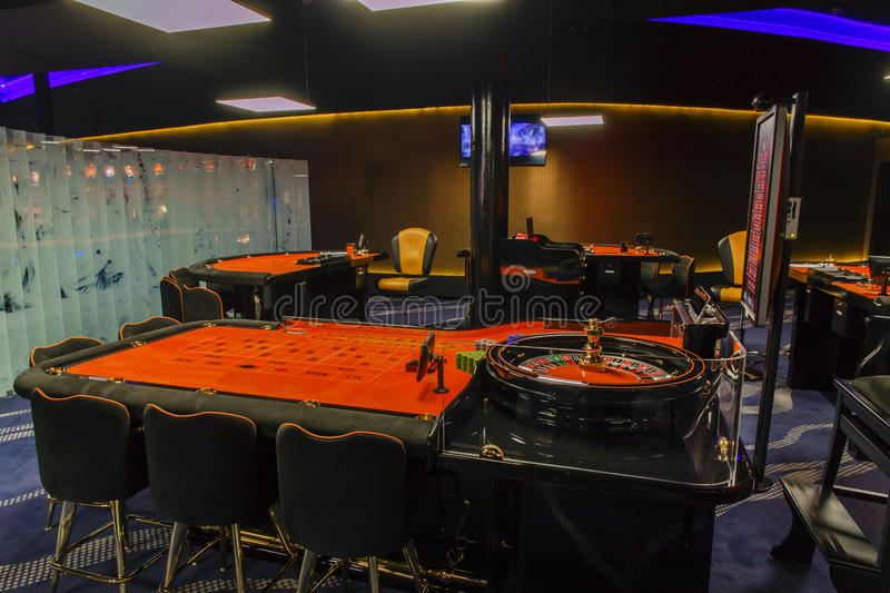 Gambling casino roulette table stock photos