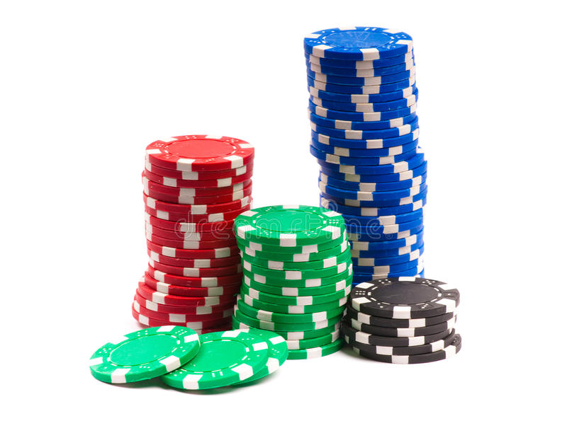 Gambling Chips. Isolated over white background royalty free stock photo