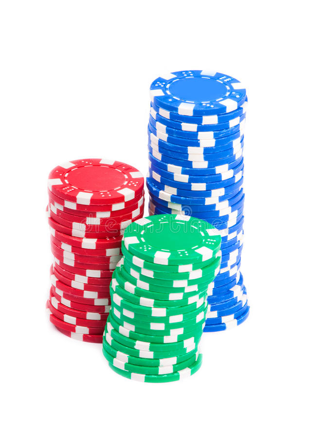Gambling Chips. Isolated over white background royalty free stock images