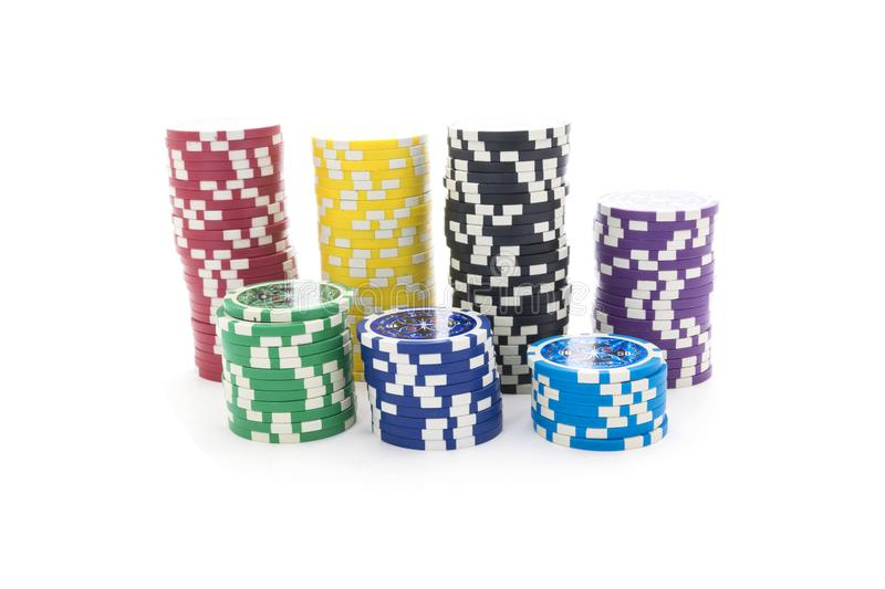 Gambling chips isolated on white background royalty free stock photo