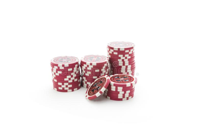 Gambling chips isolated on white background royalty free stock photos