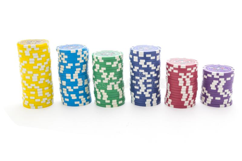 Gambling chips isolated on white background stock images