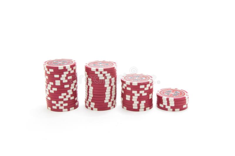 Gambling chips isolated on white background stock photography