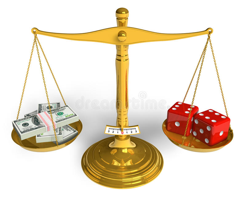 Gambling concept. Stack of dollars and red game cubes on golden weight scales isolated over white background stock illustration
