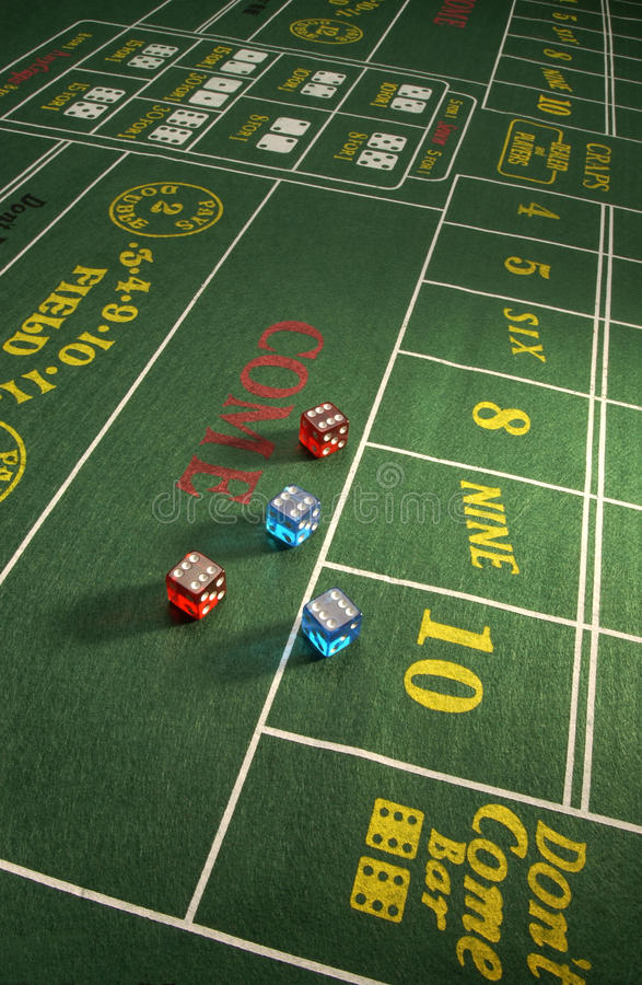 Gambling - Craps Table. Dice on a Craps Table in a casino in Las Vegas stock photos