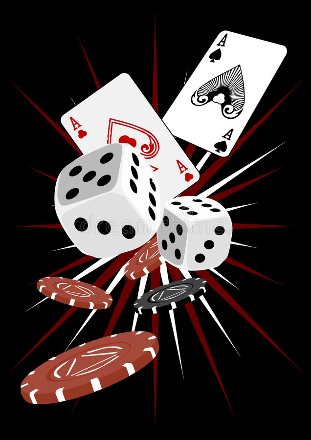 Gambling dice and cards stock illustration