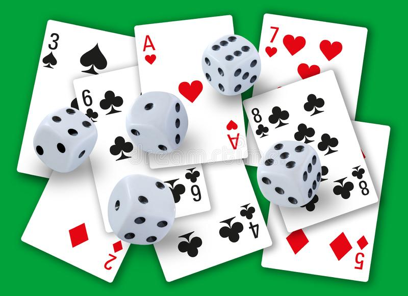 Gambling with dices rolling and different playing cards clubs, diamonds, hearts and spades in background - simple clean design. Stock image stock photo