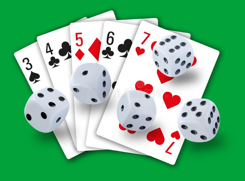 Gambling with dices rolling and playing cards showing a straight in clubs, diamonds, hearts and spades in background - simple clea. N design - stock image royalty free stock images