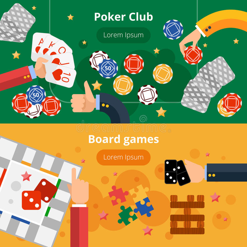 Gambling games flat banners set. Online poker club and board gambling games interactive webpage two flat banners design abstract vector illustration royalty free illustration