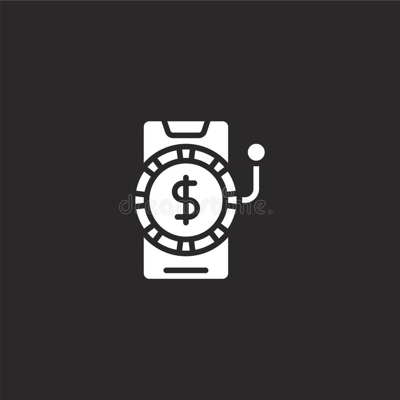 Gambling icon. Filled gambling icon for website design and mobile, app development. gambling icon from filled hobbies collection. Isolated on black background vector illustration
